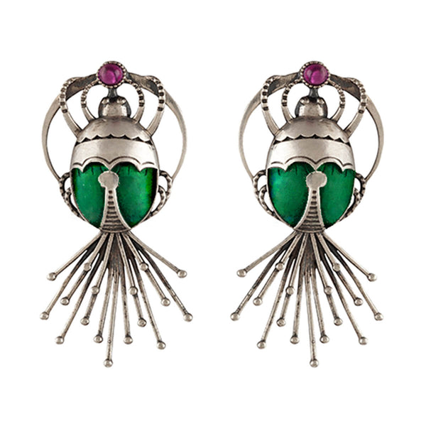 Bhramara Silver Earrings - With Tail - mohabygeetanjali