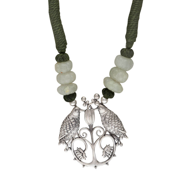 Bulbul Silver Pendant Necklace Green Thread - mohabygeetanjali