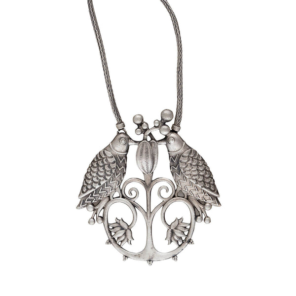 Bulbul Silver Pendant Necklace with Chain - mohabygeetanjali