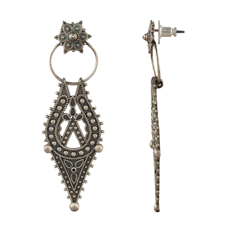 Chamba Silver Earrings - Big - mohabygeetanjali