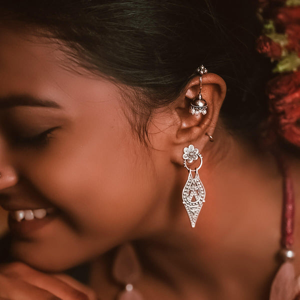 Chamba Silver Earrings - Small - mohabygeetanjali