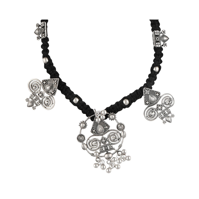 Chittor Silver Pendant Necklace