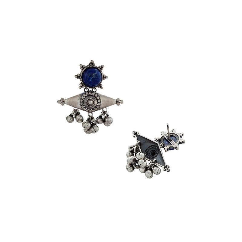Kona Silver Earring with Lapis Stone