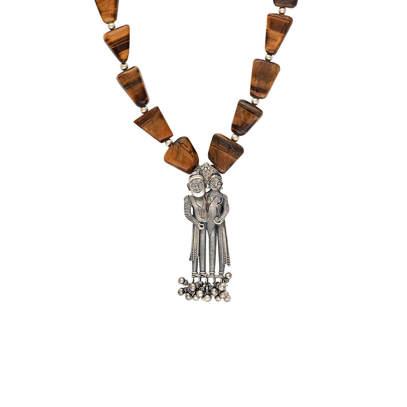 Buy Dampati Silver Pendant Necklace Tiger Eye Stone Online