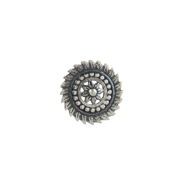 Delicate Floral Circle Silver Nose Pin - Pierced