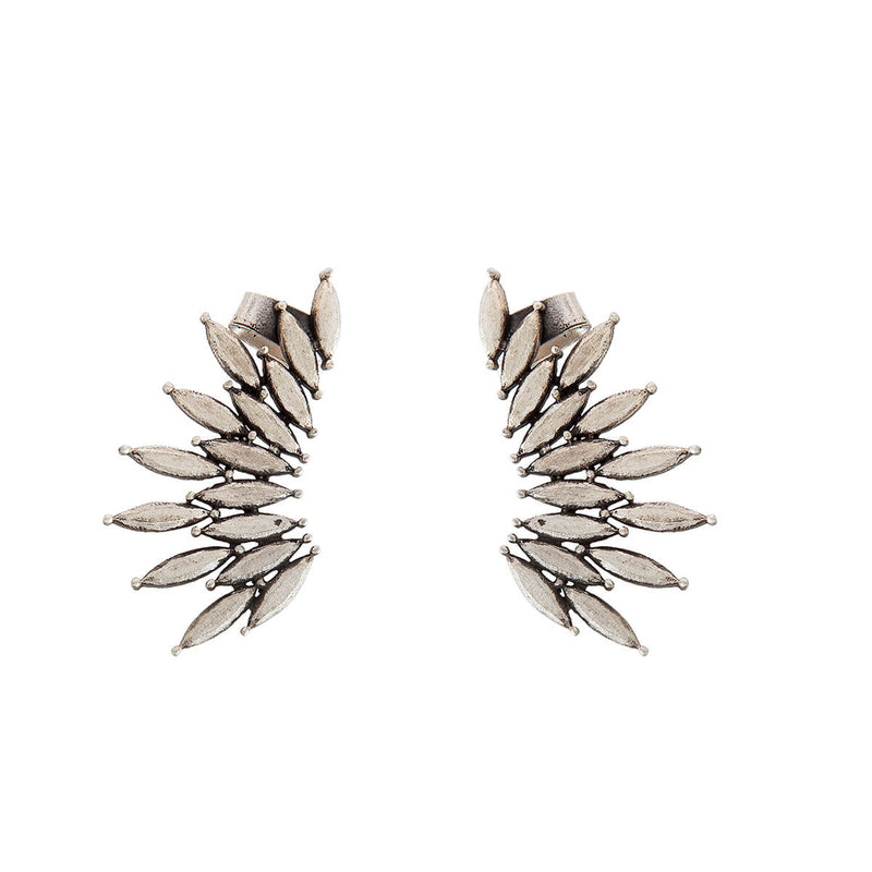 Elliptical Leaf Silver Ear Cuffs - mohabygeetanjali