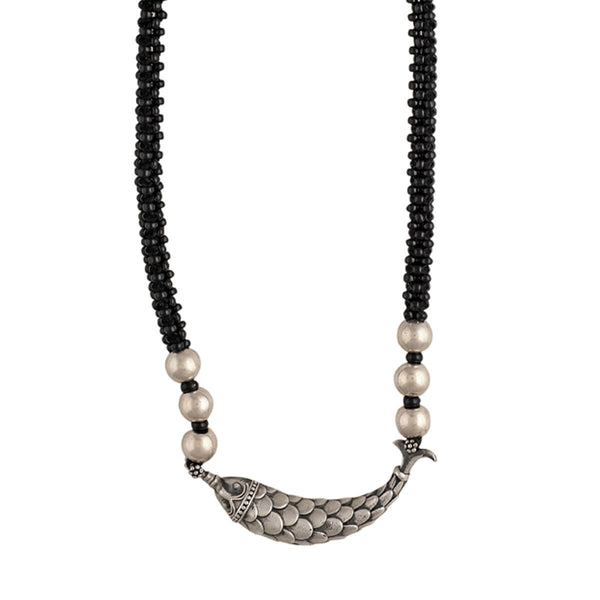 Black beaded silver fish necklace