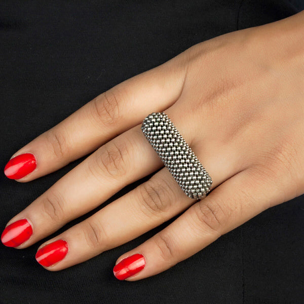 Granules In Joint Silver Finger Ring - mohabygeetanjali