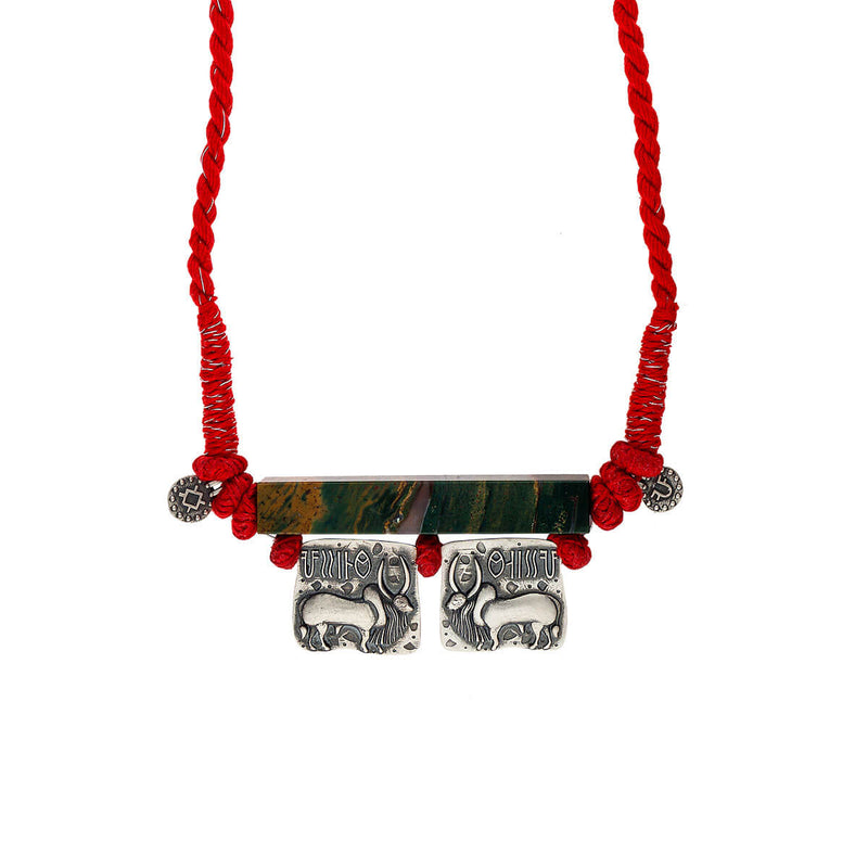 Harappa Vrishubh (Bull Seal Pendent) Necklace Red Thread - mohabygeetanjali