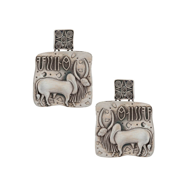 Harappa Vrishabh Bull Seal Silver Earrings - Silver - mohabygeetanjali