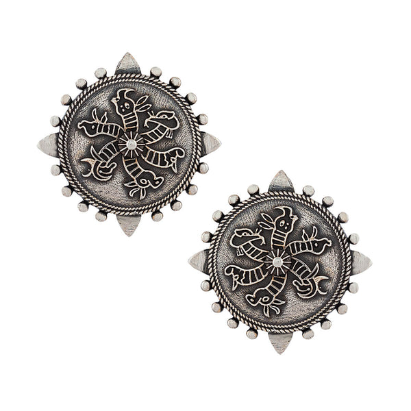 Harappa Hexa Unicorn Silver Earrings - mohabygeetanjali