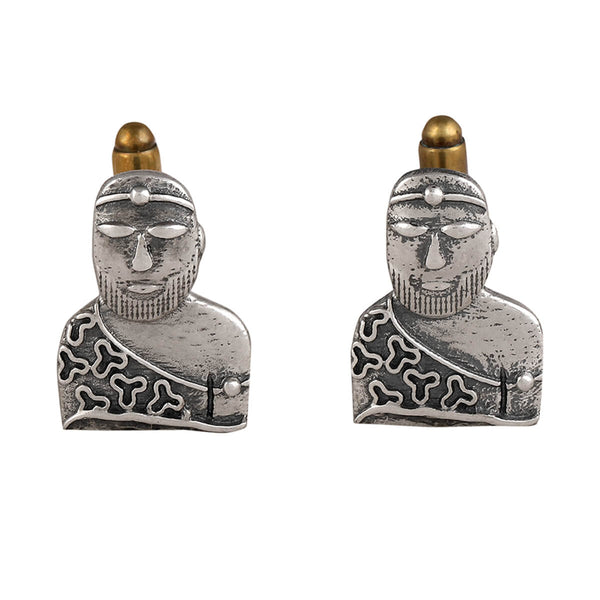 Harappa Priest King Silver Cufflinks
