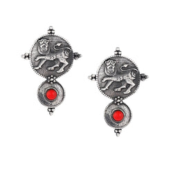 Kadamba Simha Silver Earrings - Coral - mohabygeetanjali