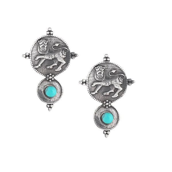 Kadamba Simha Silver Earrings - Turquoise - mohabygeetanjali