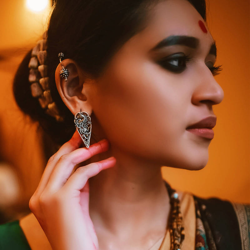 Kalki Silver Earrings - mohabygeetanjali