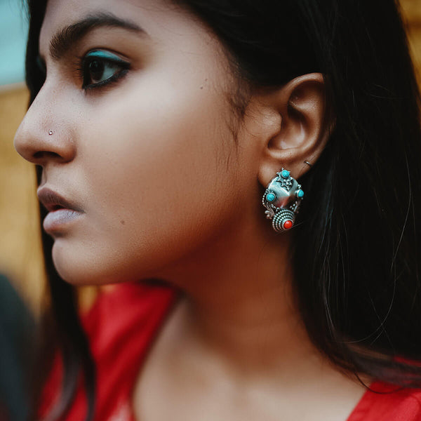 Kunti Silver Earrings - Coral - mohabygeetanjali