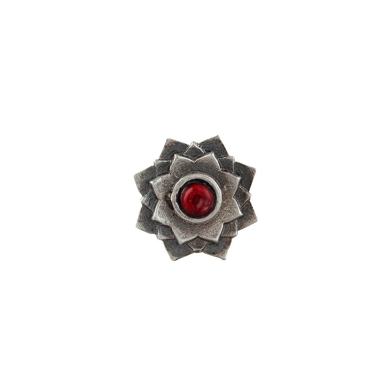 Lotus Silver Nose Pin - Clip On, Coral Stone - mohabygeetanjali