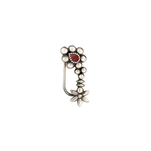 Maharashtrian Silver Nath - Red,Clip On Left - mohabygeetanjali