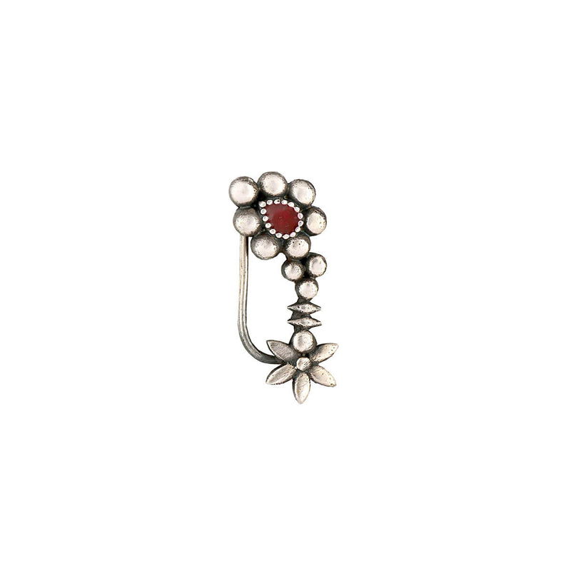 Maharashtrian Silver Nath - Red, Clip-on Left