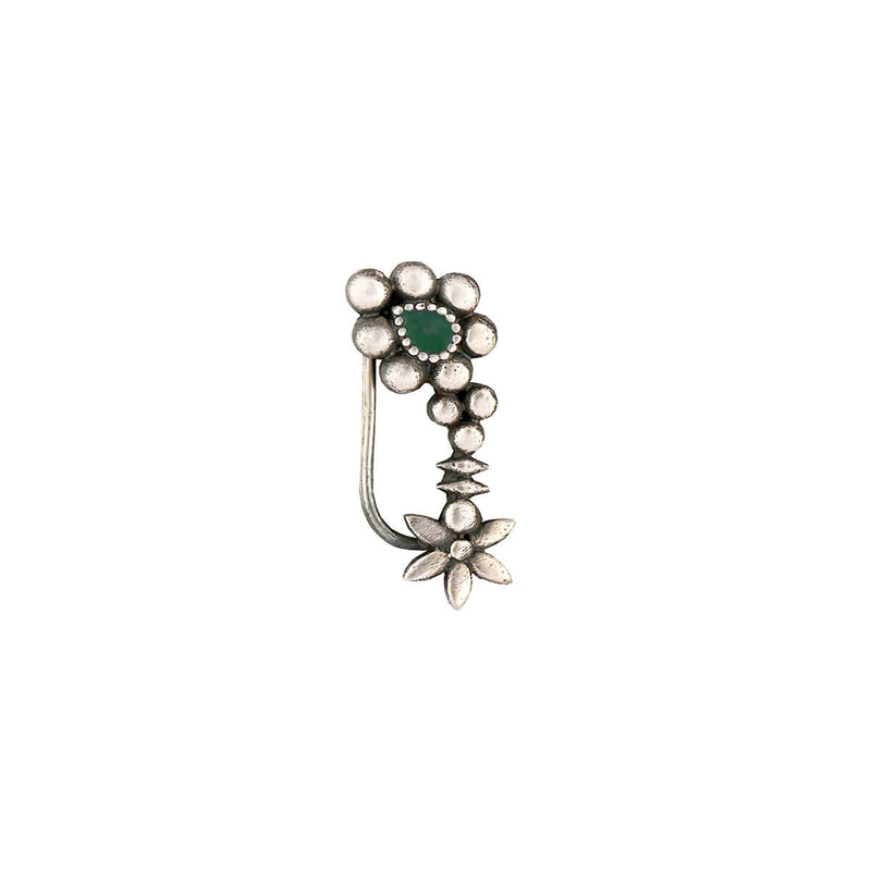 Maharashtrian Silver Nath - Green, Clip-on Left