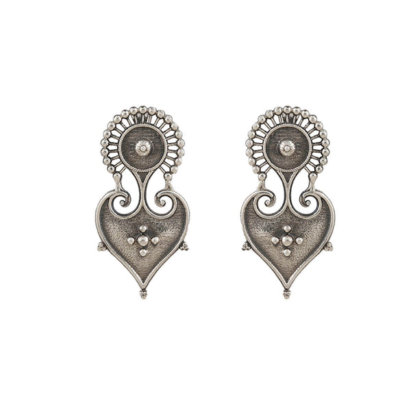 Paan Silver Earrings - mohabygeetanjali