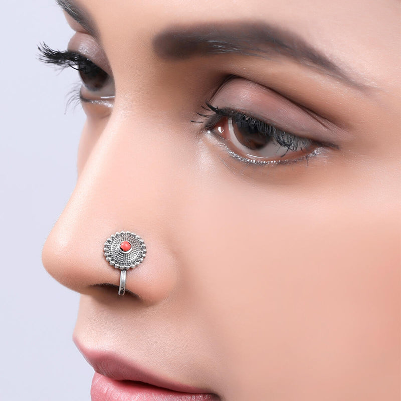 Sara Silver Nose Pin - Clip On, Coral Stone