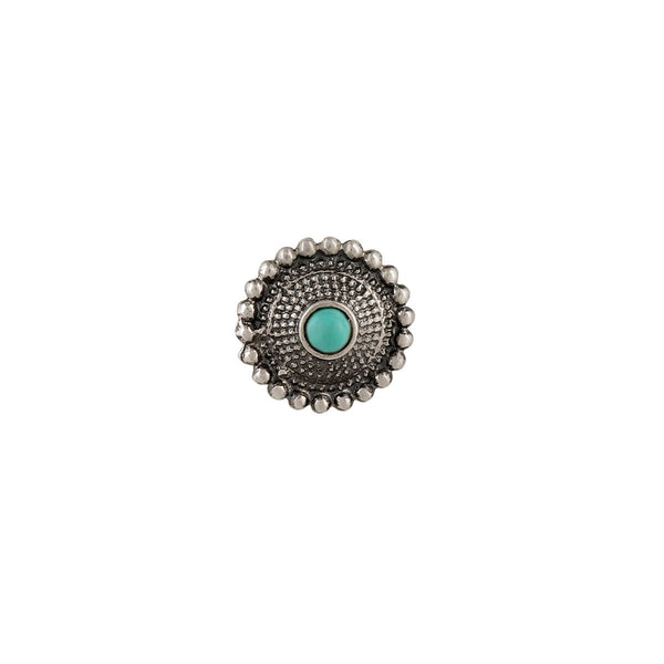 Sara Silver Nose Pin - Clip On, Turquoise Stone