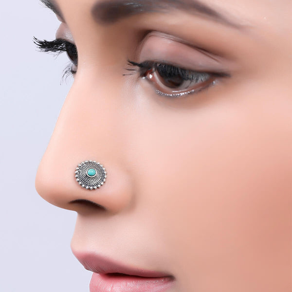 Sara Silver Nose Pin - Pierced, Turquoise Stone