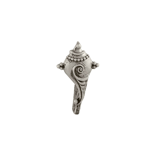 Shankha Silver Nose Pin - Clip On