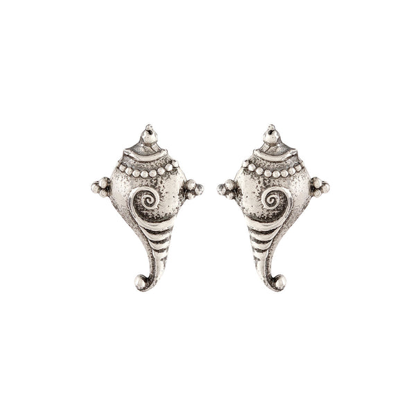 Shankha Silver Earrings - mohabygeetanjali