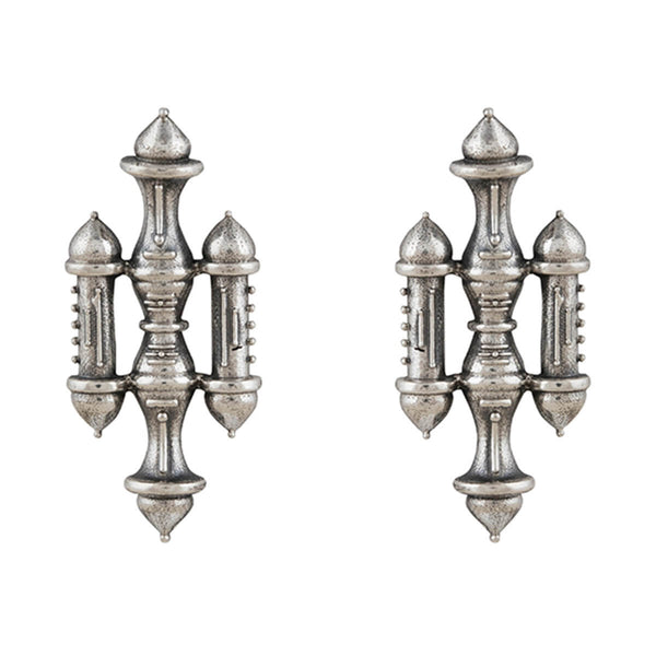Stambh Silver Earrings - Big - mohabygeetanjali