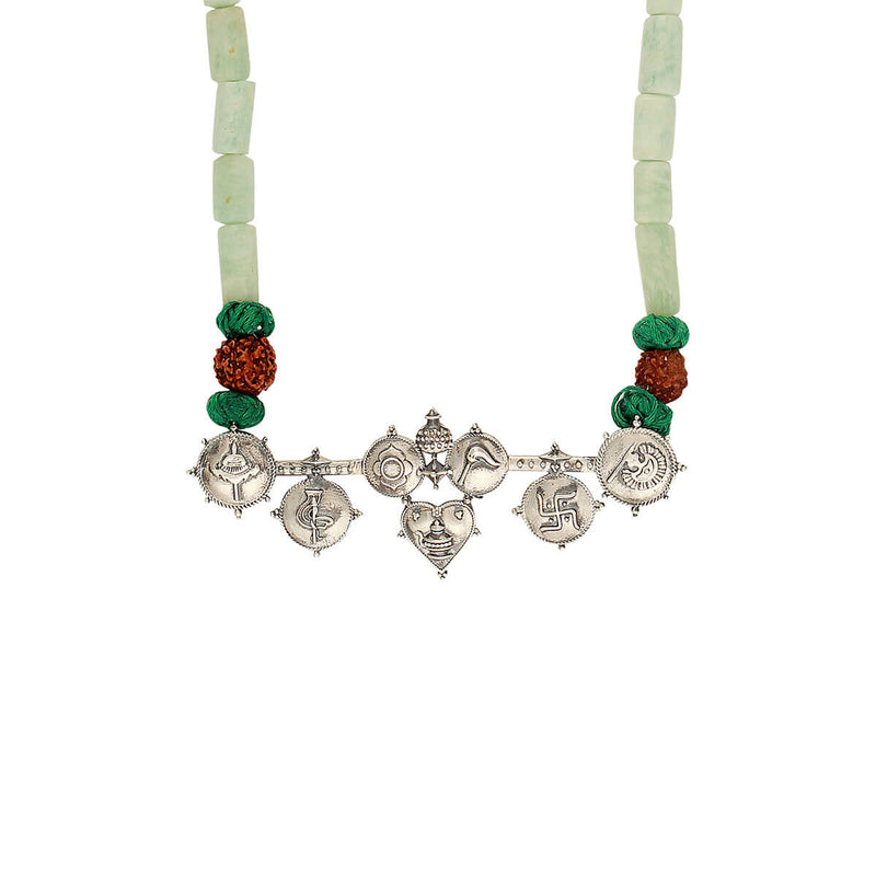 Tatva Silver Pendant Necklace with Jade Stone and Rudraksha - mohabygeetanjali