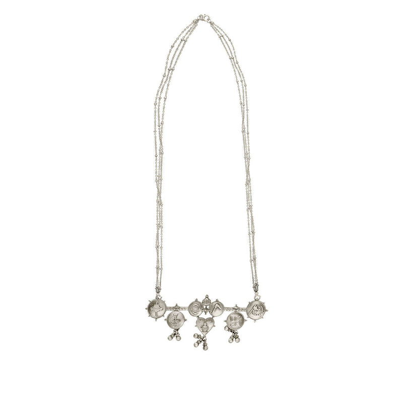 Tatva Silver Pendant Necklace with Silver Chain - mohabygeetanjali
