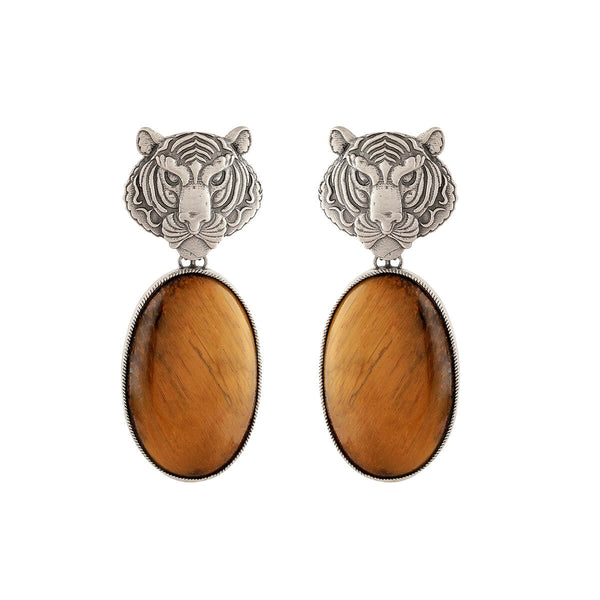 Tigers eye Silver Earrings