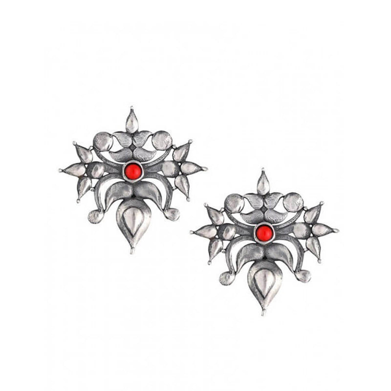Toranful Rathika Silver Ear Studs -Coral - Silver Earrings Online - MohabyGeetanjali