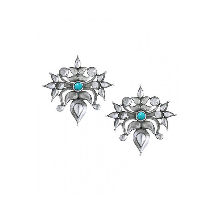 Toranful - Rathika Silver Ear Studs - Turquoise