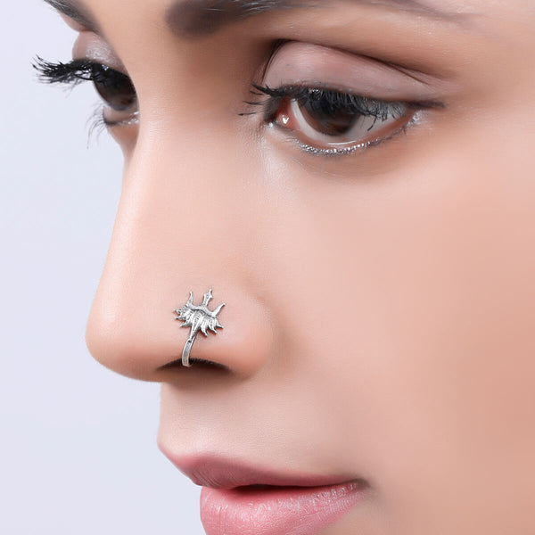 Urja Silver Nose Pin - Clip On