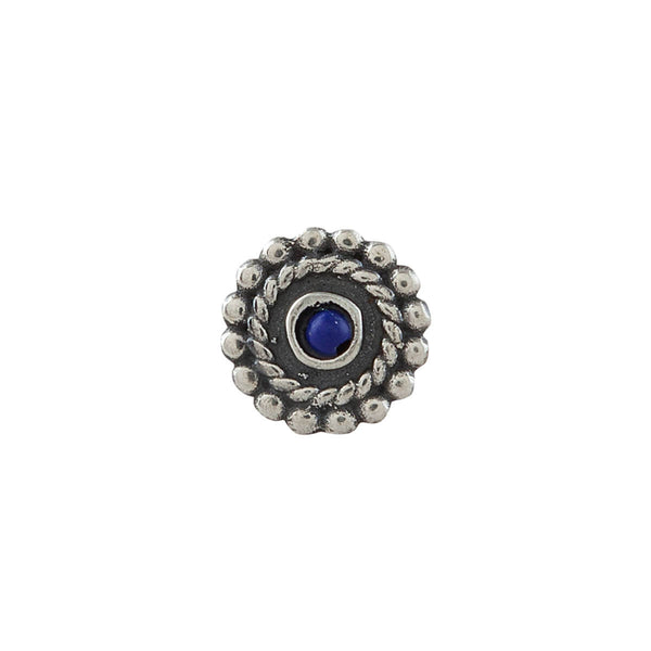 Whorl Silver Nose Pin - Clip On, Lapiz Stone - mohabygeetanjali