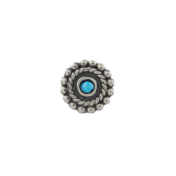 Whorl Silver Nose Pin - Pierced, Turquoise Stone - mohabygeetanjali