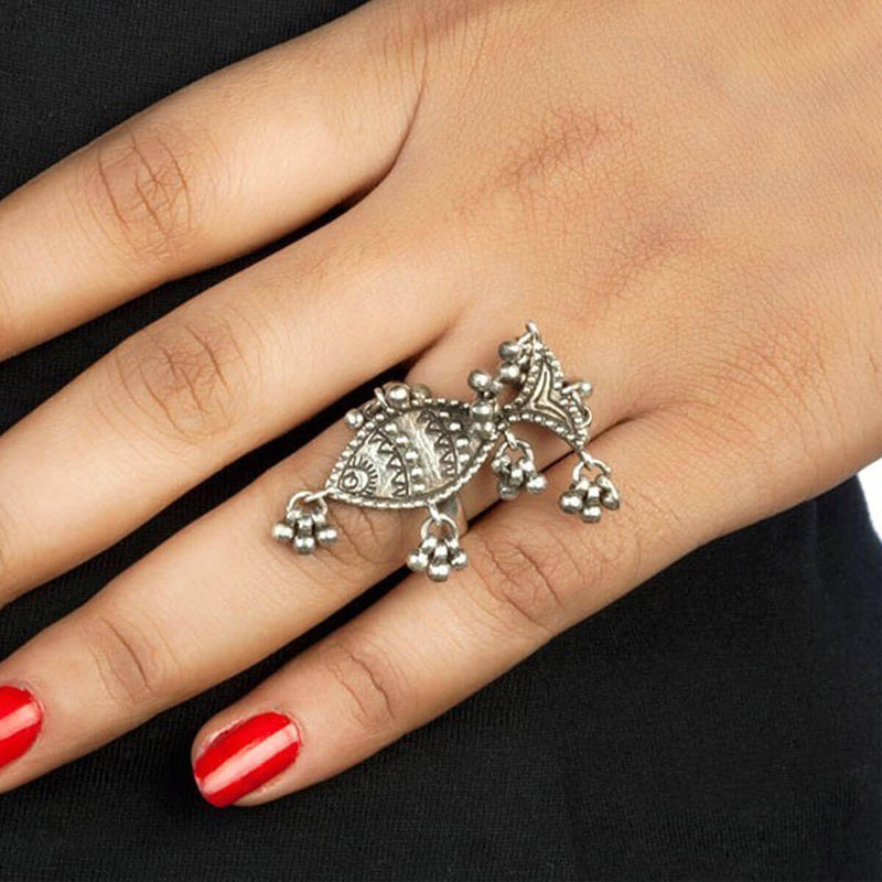 Buy Fish Nupur Silver Finger Ring Online