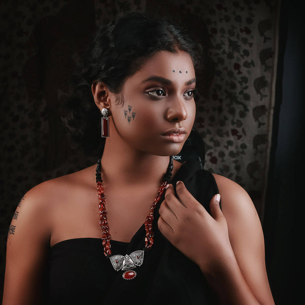 Harappa Bhasha Silver Earrings - Fire Theme - mohabygeetanjali