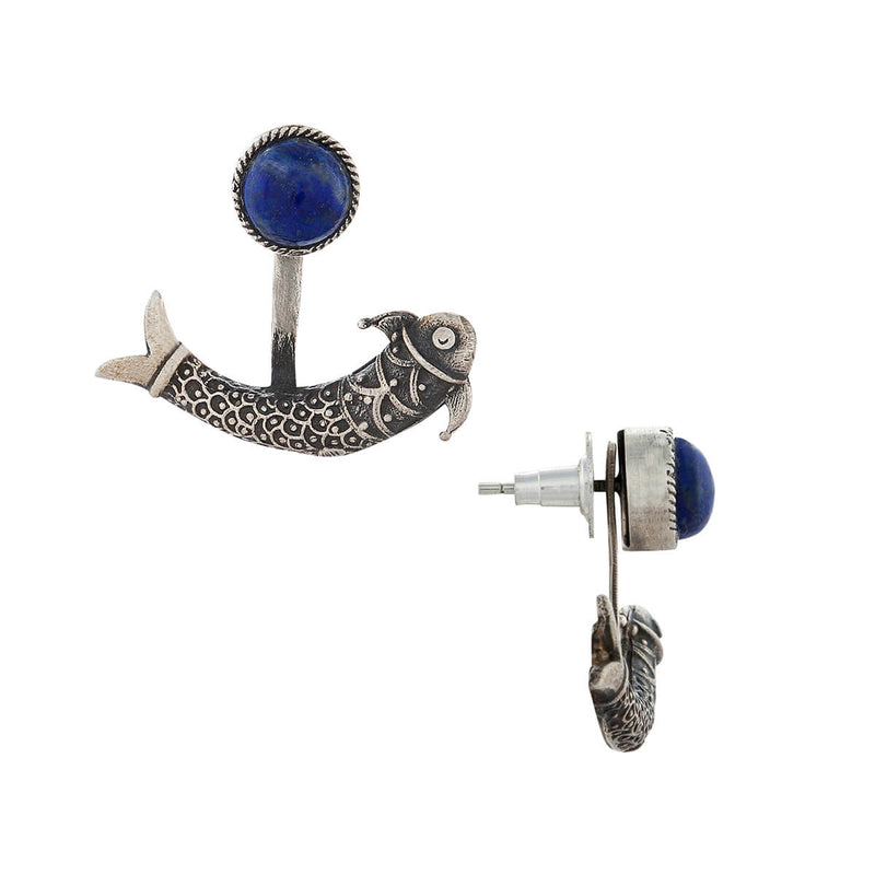 Harappa Mermaid Silver Earrings - Lapiz Lazuli - mohabygeetanjali
