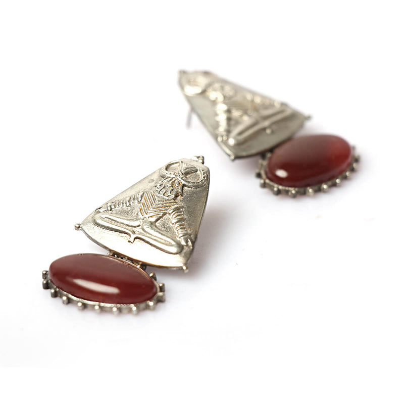 Buy Harappa Mahisha Silver Earrings