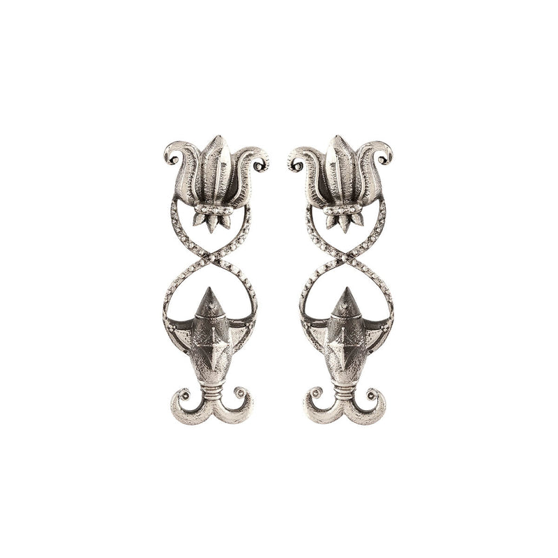 Meenpadma Silver Earrings-Small - mohabygeetanjali