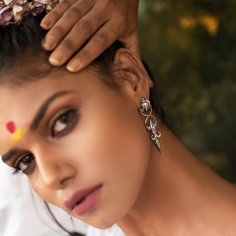 Meenpadma Silver Earrings - mohabygeetanjali