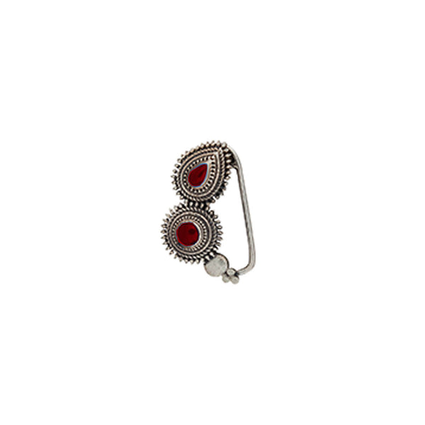 Peshwa Silver Nath - Red,Clip On Right - mohabygeetanjali