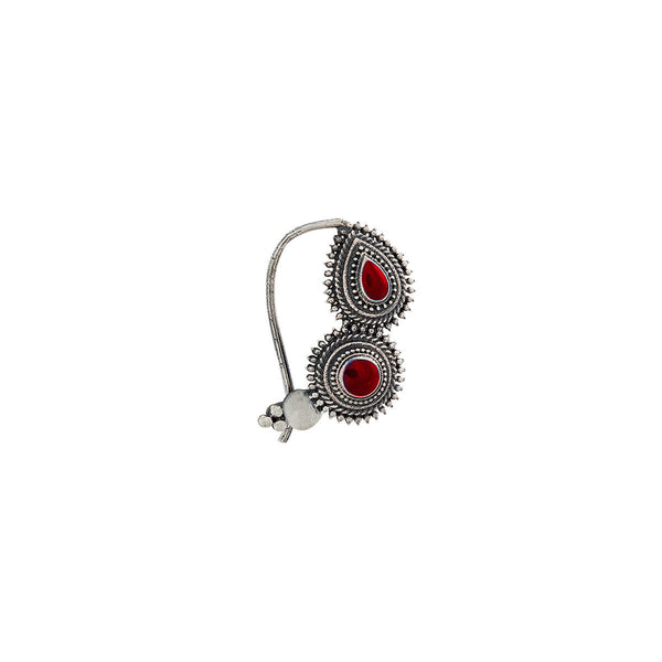 Peshwa Silver Nath - Red,Pierced Left - mohabygeetanjali