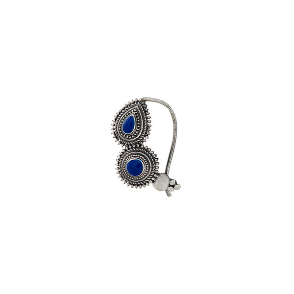 Peshwa Silver Nath - Blue,Pierced Right - mohabygeetanjali