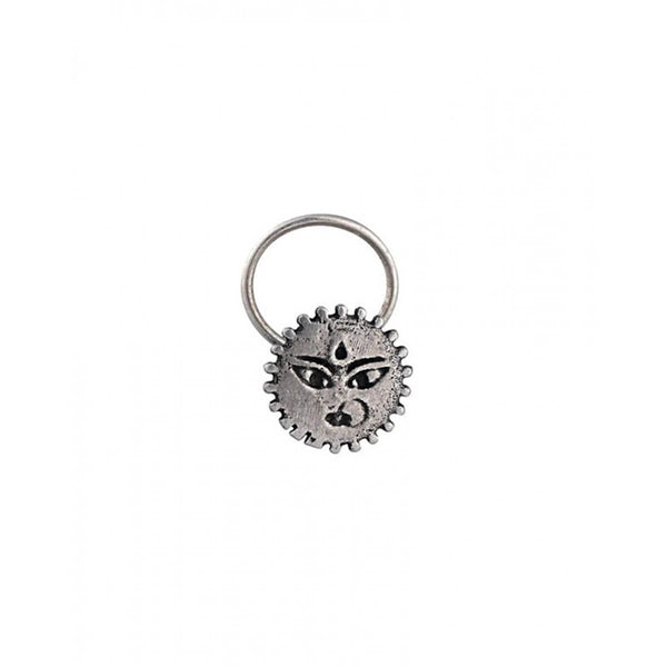Powerful Goddess Silver Nose Pin - Pierced - mohabygeetanjali