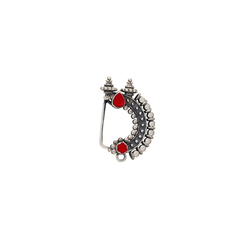 Temple Silver Nath - Red, Clip On Left